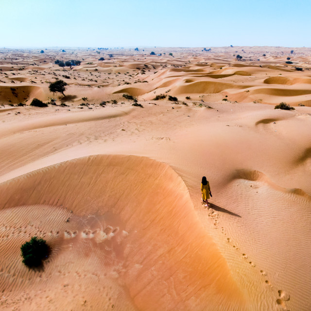 """Woman walking in the desert on aerial view"" stock image"