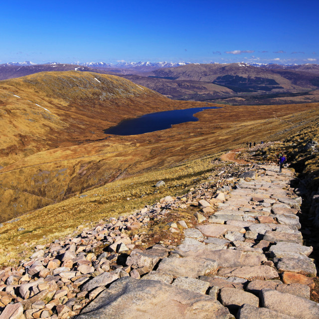 """""""People hiking on path to the Ben Nevis summit"""" stock image"""