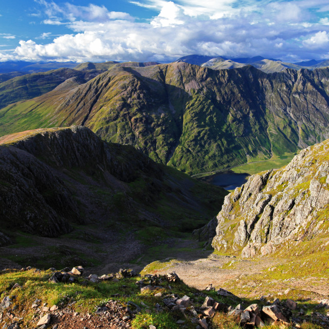 """""""View from Stob Coire nam Beith Summit, Glencoe"""" stock image"""