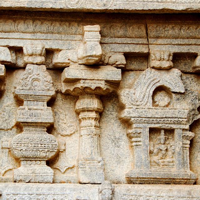 """Stone Wall Sculpture, Lepakshi"" stock image"