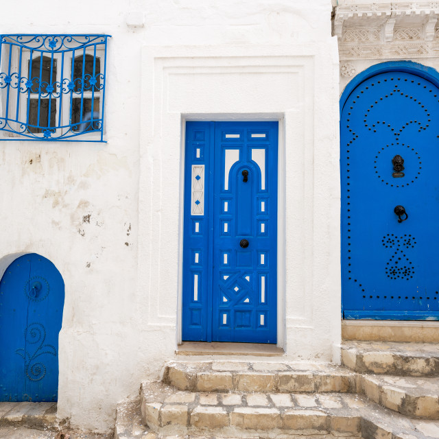 """""""Blue and White Architecture in Sousse, Tunisia"""" stock image"""