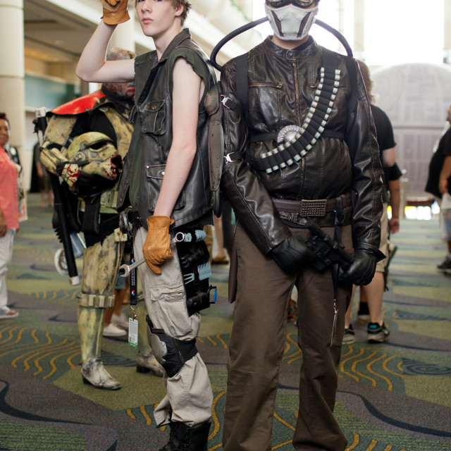 """Portrait of two young men at Star Wars Celebration at Orange County..."" stock image"