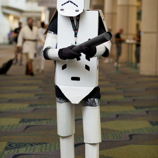"""Portrait of man dressed as cardboard storm trooper at Star Wars Celebration..."" stock image"