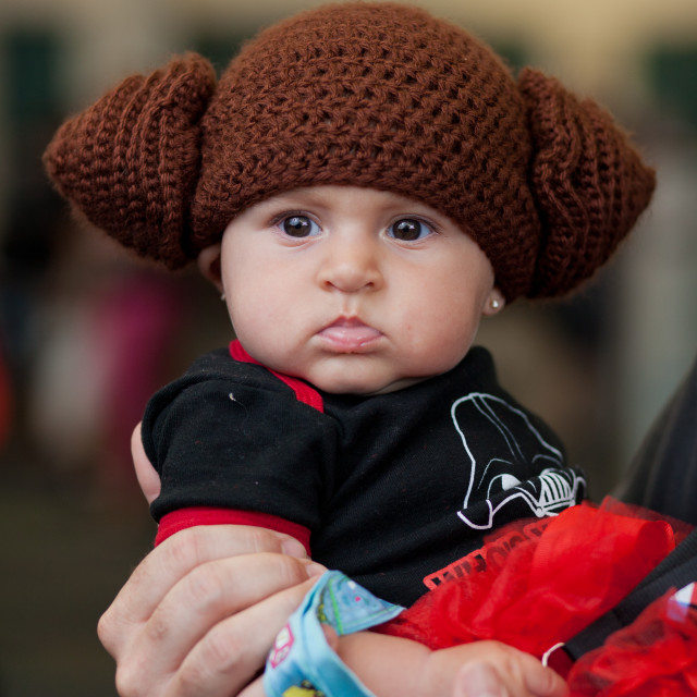 """Portrait of baby dressed as Princess Leia at Star Wars Celebration at Orange..."" stock image"