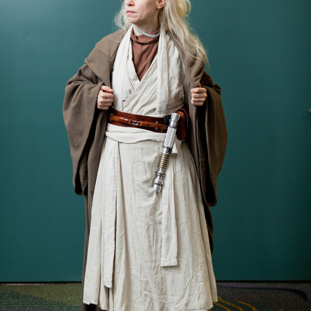 """Woman poses at Star Wars Celebration at Orange County Convention Center in..."" stock image"