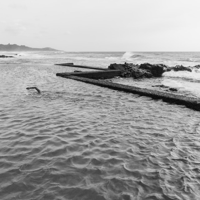 """Swimming Beach Tidal Pool Black White"" stock image"