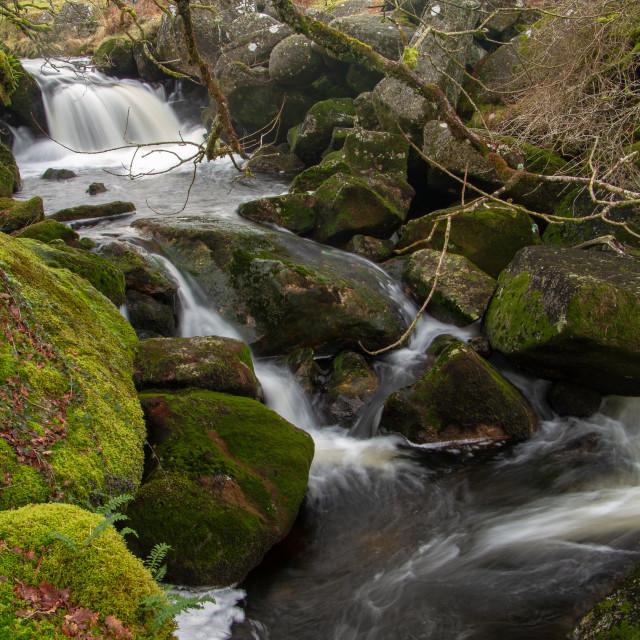 """River Okement waterfall"" stock image"