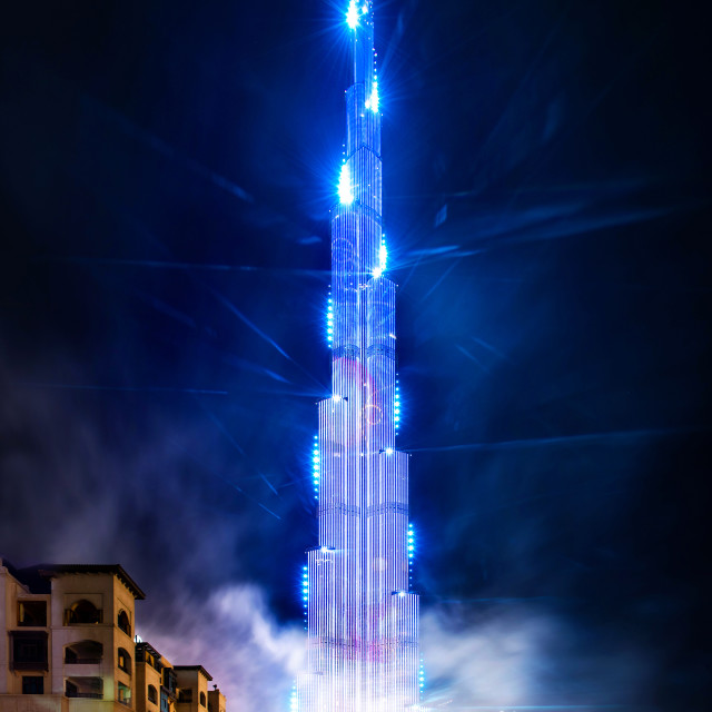 """Burj Khalifa laser and light show for Chinese lunar New Year festival at Dubai mall"" stock image"