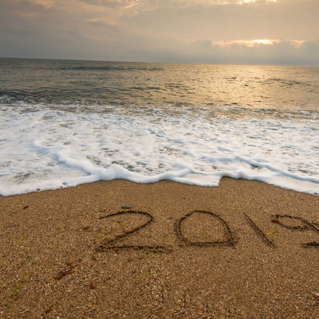 """""""2019 year on the sea shore."""" stock image"""