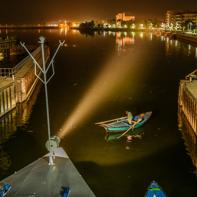 """the water gate of Esna in the river Nile is opening at night"" stock image"