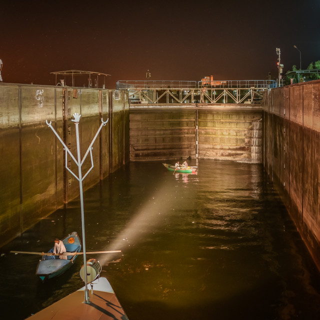 """Inside the lock of Esna at night"" stock image"