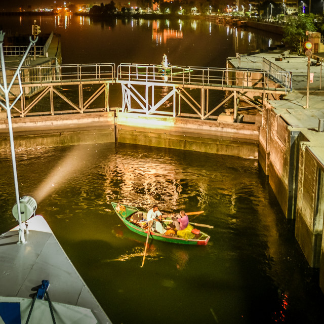 """The lock of Esna in the river Nile at night,"" stock image"