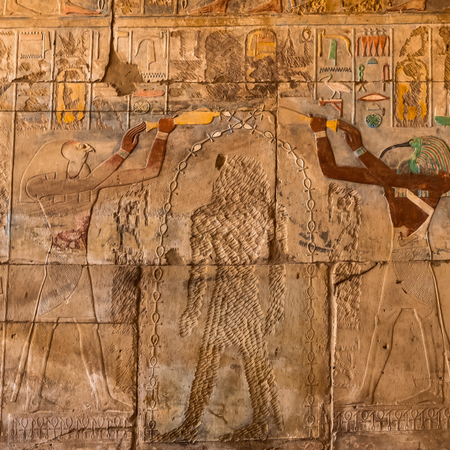 """Ancient colourful egyptian wall-painting of two Gods at Karnak t"" stock image"