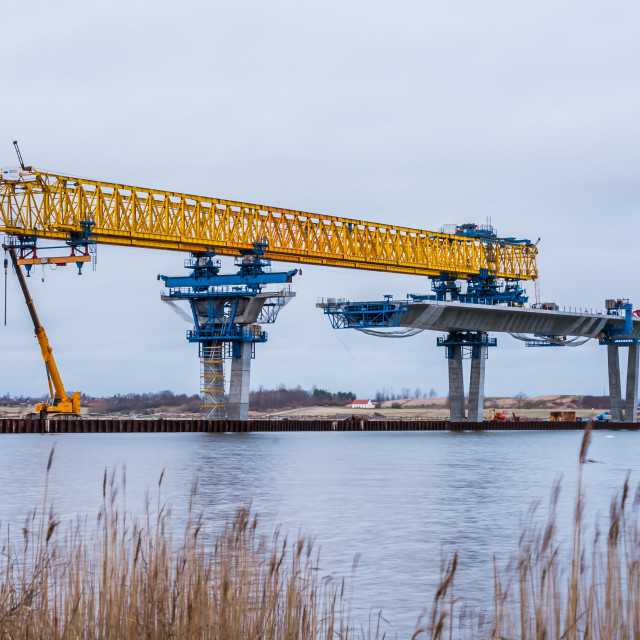 """Constructing the Crown Princess Mary Bridge over Roskilde firth"" stock image"