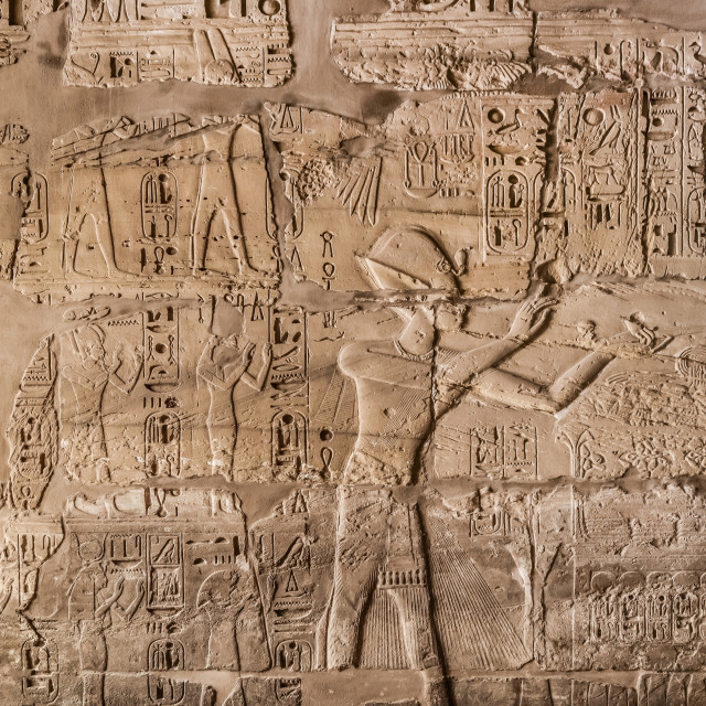 """Ancient Egyptian hieroglyphics and reliefs"" stock image"