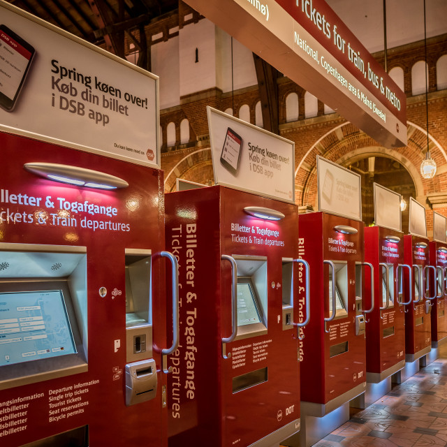 """Ticket machines in the central station of Copenhagen"" stock image"