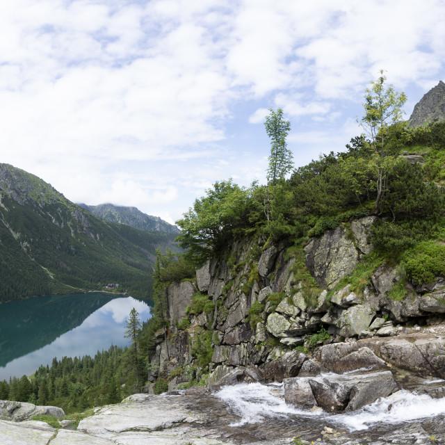 """""""Panorama viem on Morskie Oko from the to the Czarny Staw, Tatra, Poland"""" stock image"""