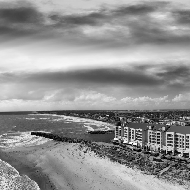 """Glenelg, Australia. Panoramic aerial view of cityscape and coastline on a..."" stock image"
