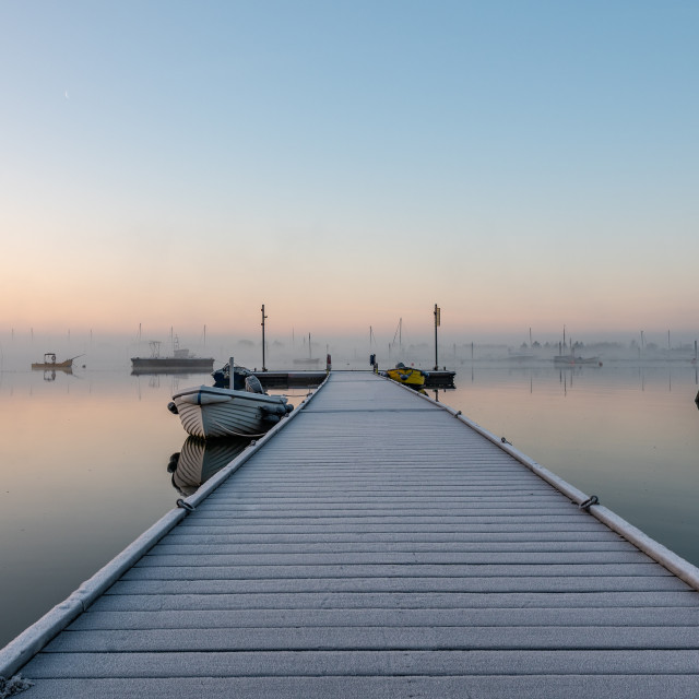 """Frost on the jetty"" stock image"