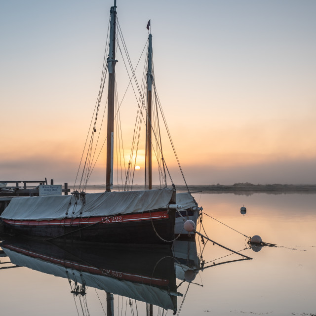 """Sunrise at the smack dock"" stock image"