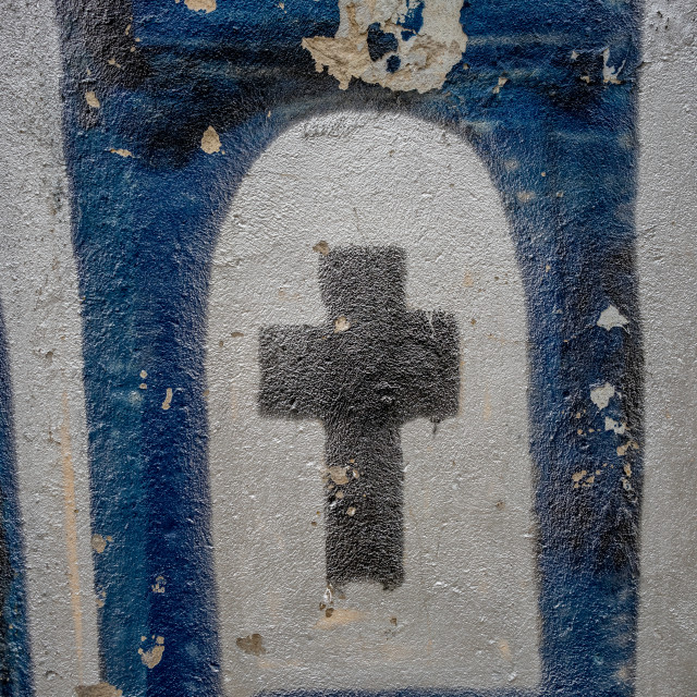 """""""Strange religious cross painted on wall"""" stock image"""