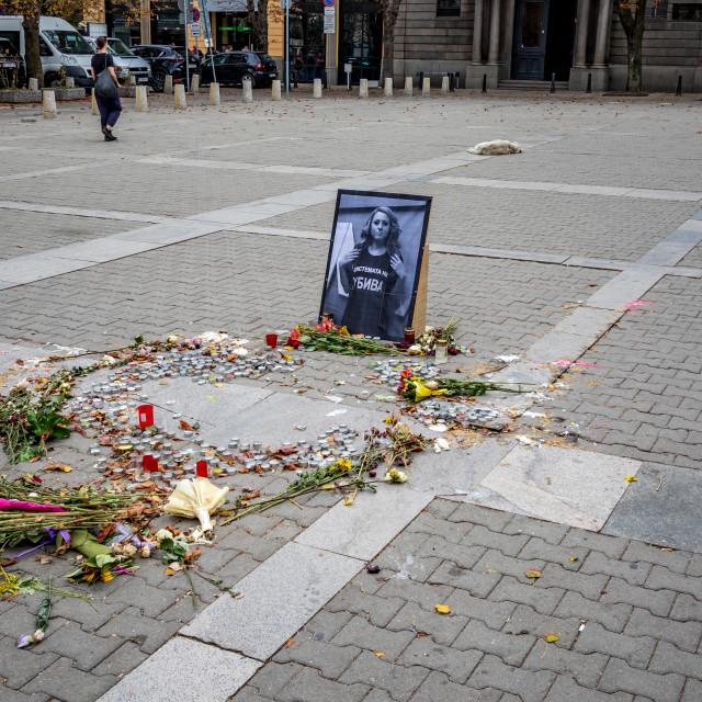 """Memorial of murdered Bulgarian female journalist"" stock image"