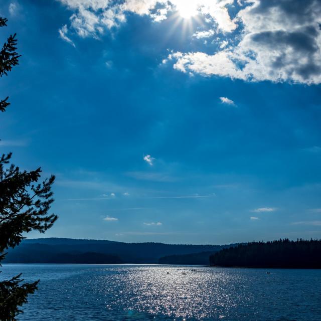 """Stunning autumn view of water reservoir, Bulgaria"" stock image"