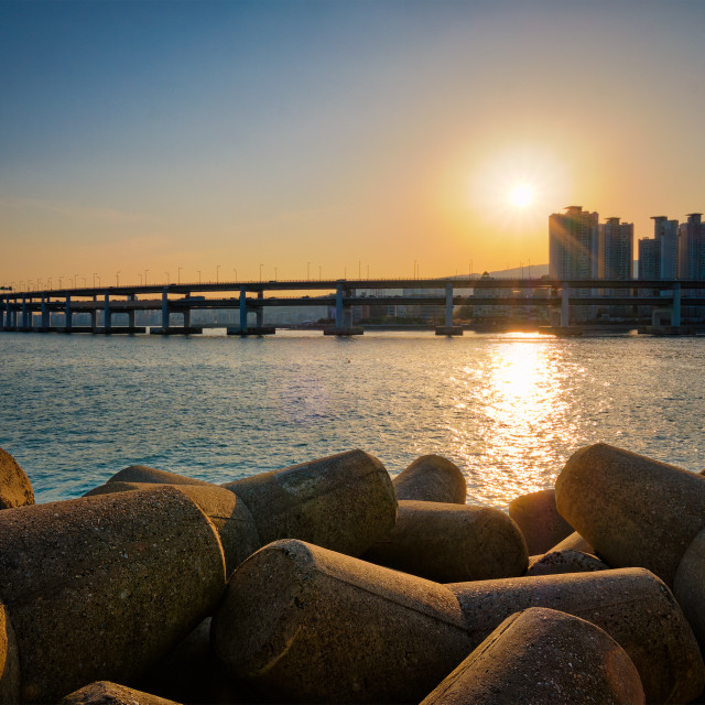 """Gwangan bridge on sunset. Busan, South Korea"" stock image"