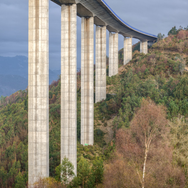 """""""A viaduct of the infamous A8 highway"""" stock image"""