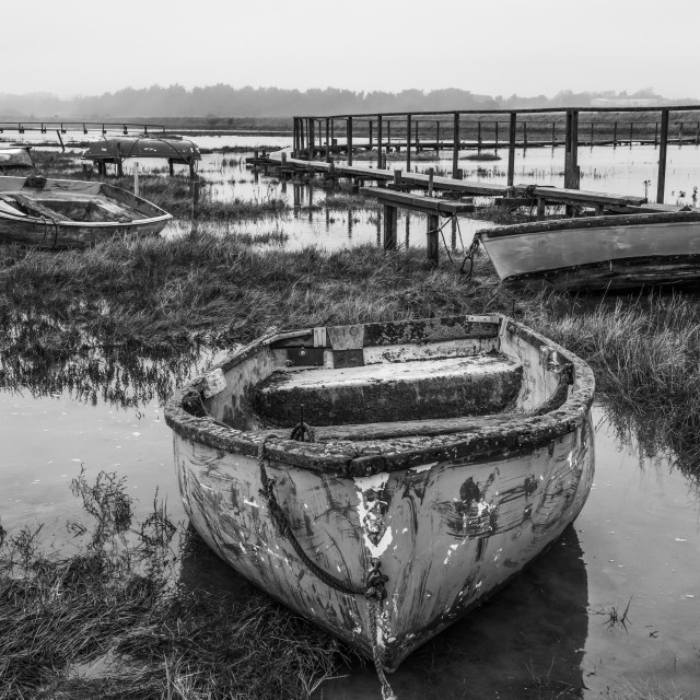 """""""Beached Boats at Little Oakley"""" stock image"""