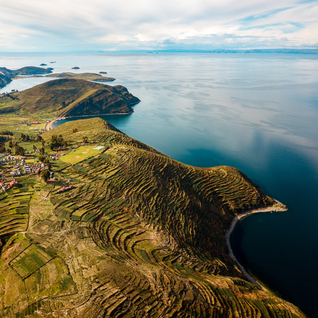 """""""Aerial of Island of the sun at lake Titicaca in Bolivia"""" stock image"""