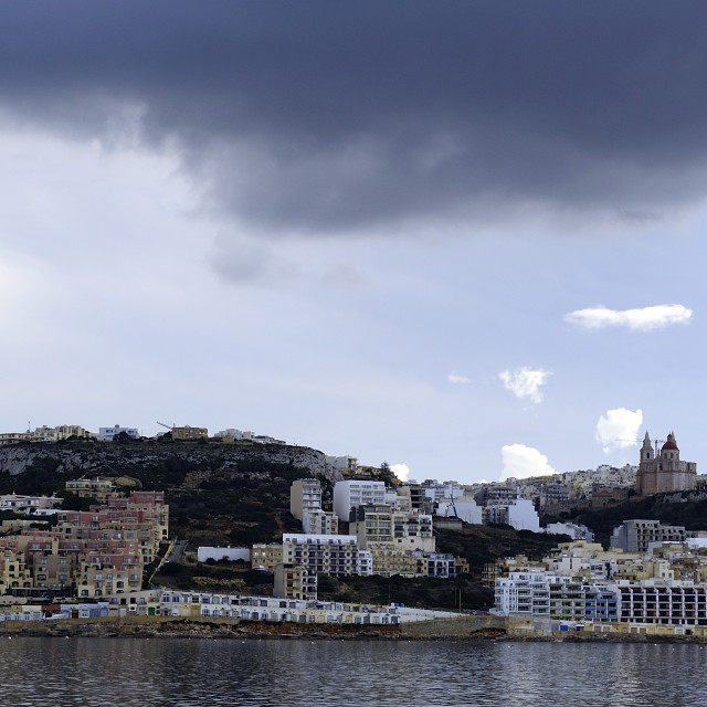"""""""Storm clouds over Mellieha"""" stock image"""