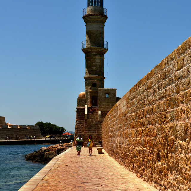"""""""the Venetian lighthouse guards the harbour of Chania"""" stock image"""