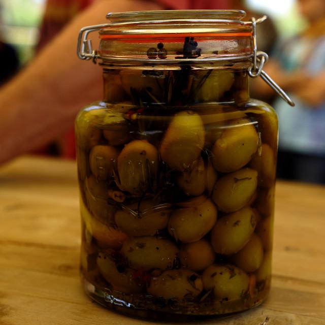 """Jar of mixed olives"" stock image"