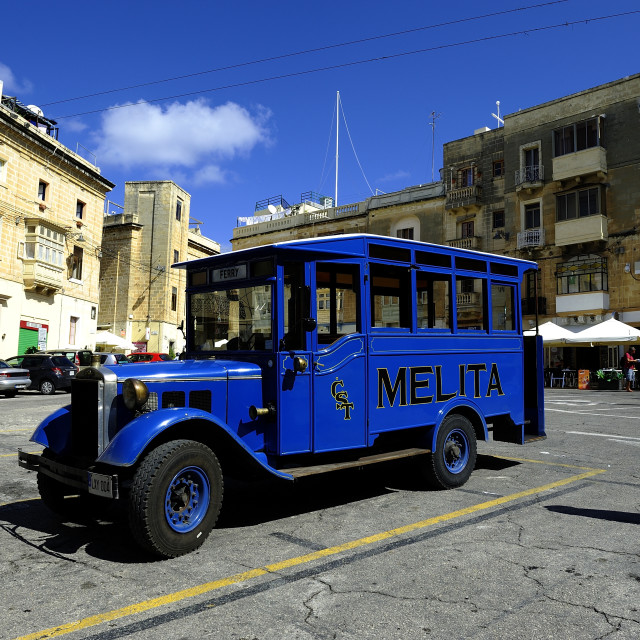 """""""Old vintage Blue bus of the island of Malta"""" stock image"""