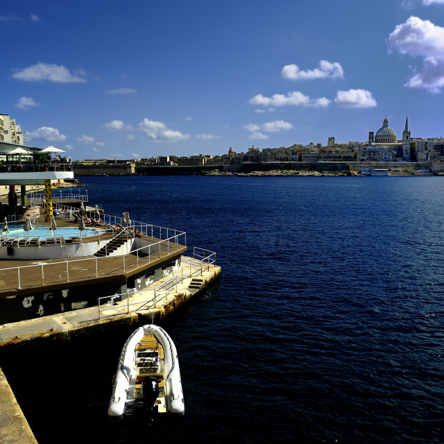 """""""The harbour of Sliema and the old Town of Valleta"""" stock image"""