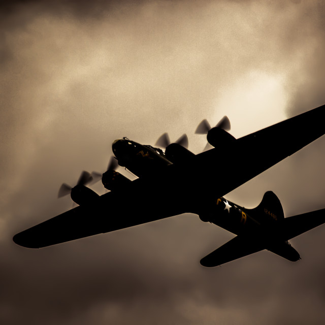 """""""Flying Fortress Sally B Shadow"""" stock image"""