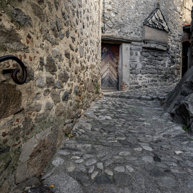 """""""Medieval street in the town of Eus, in the list of Les plus beaux villages in France"""" stock image"""