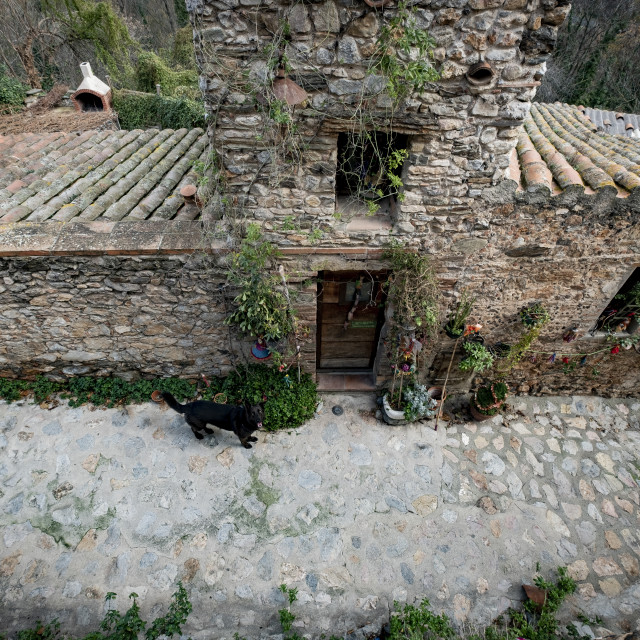 """""""Rustic architecture in the village of Castelnou, within the list of Les plus beaux towns of France"""" stock image"""