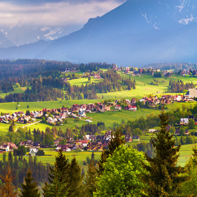 """Malopolska village and green spring meadows on hills"" stock image"