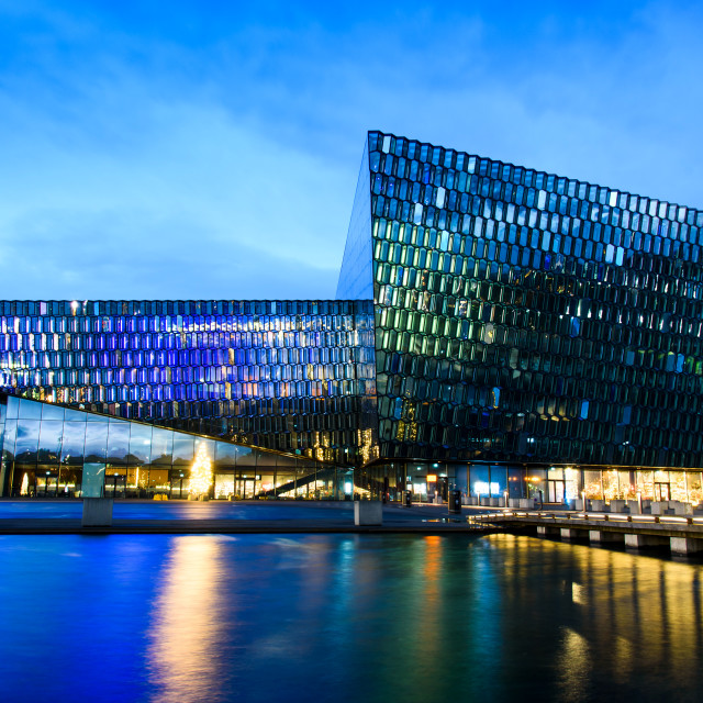 """Reykjavik concert and conference center in Iceland at blue hour"" stock image"