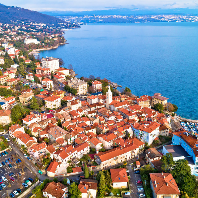 """Town of Lovran and Kvarner bay aerial view"" stock image"