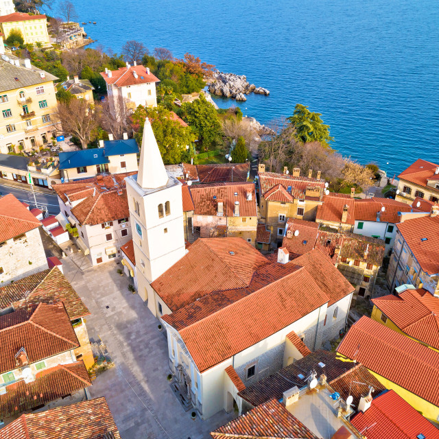 """""""Town of Lovran historic center archutecture aerial view"""" stock image"""