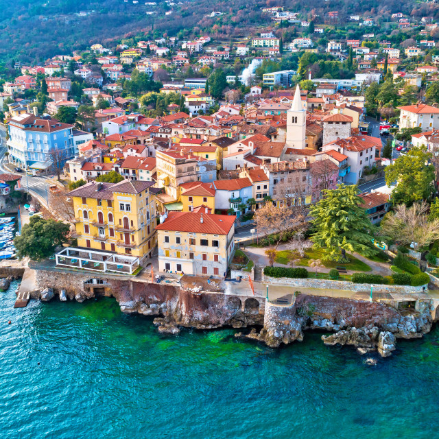 """""""Town of Lovran and Lungomare sea walkway aerial panoramic view"""" stock image"""