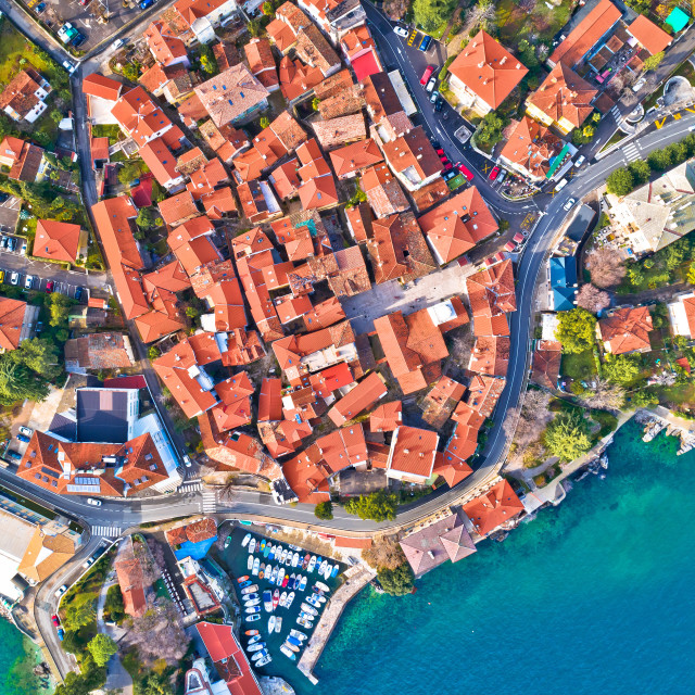 """""""Town of Lovran historic center and coastline aerial view"""" stock image"""