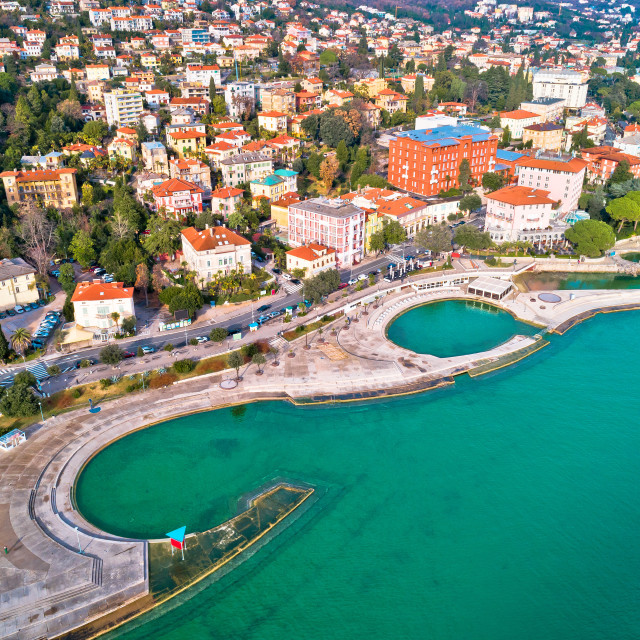 """Slatina beach in Opatija aerial panoramic view"" stock image"