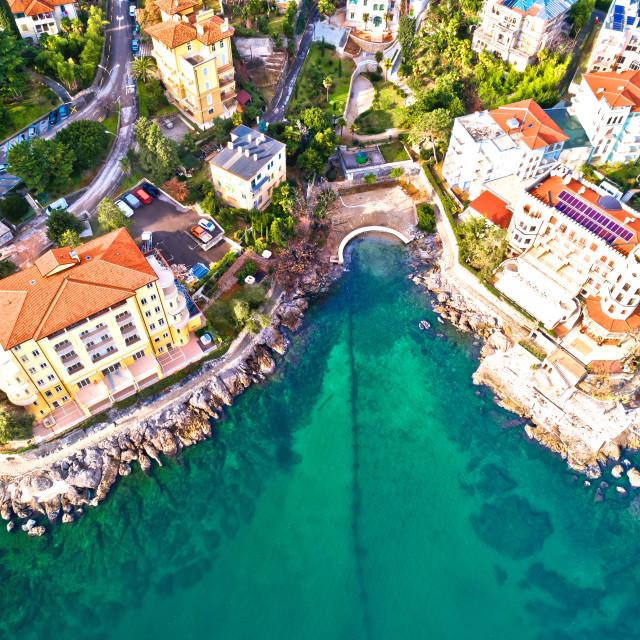 """Scenic coastline of Opatija and Lungomare seaside walkway aerial view"" stock image"