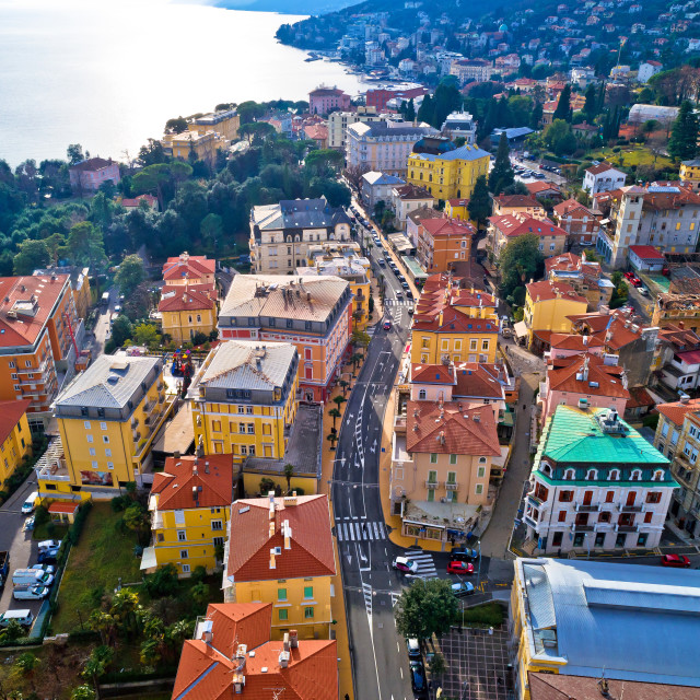 """""""Main street of Opatija architecture aerial view"""" stock image"""