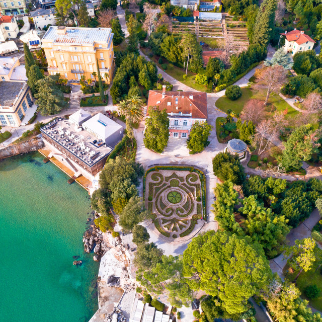 """""""Park Angiolina in Opatija aerial view"""" stock image"""