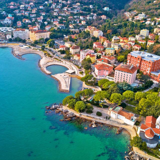 """Scenic coastline of Opatija and Slatina beach aerial view"" stock image"